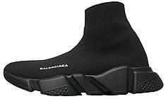 Кроссовки женские Balenciaga Knit High-Top Sneakers Black/Black баленсиага