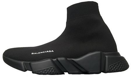 Кроссовки женские Balenciaga Knit High-Top Sneakers Black/Black баленсиага, фото 2
