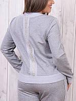 Турецкий брендовый модный батальный спортивный костюм женский 50 52 54 серый , фото 1