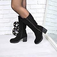 Сапоги женские Niona черные 3758, осенняя обувь