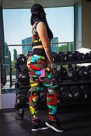 Женский камуфляжный фитнес костюм топ+лосины. Ткань: дайвинг, сетка. Размер: 42,44,46,48