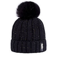 Женская шапка люрекс черная с меховым помпоном