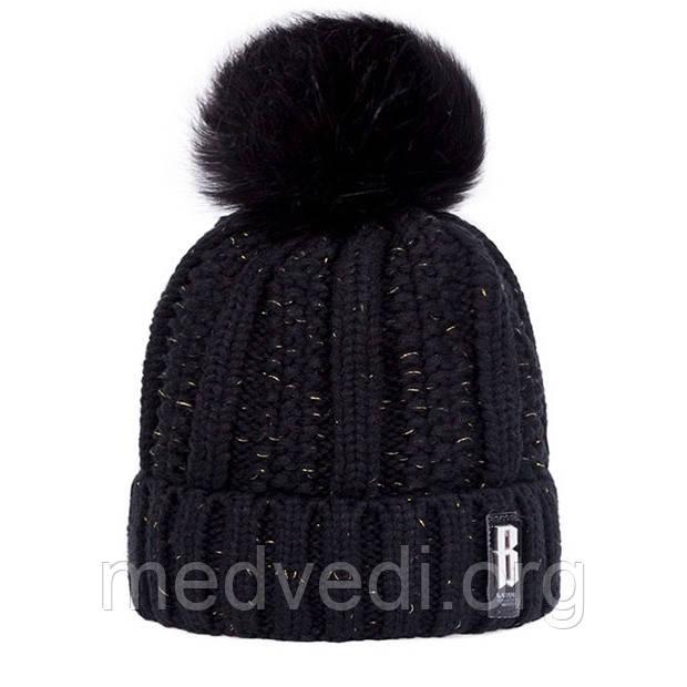 Черная шапка люрекс с помпоном
