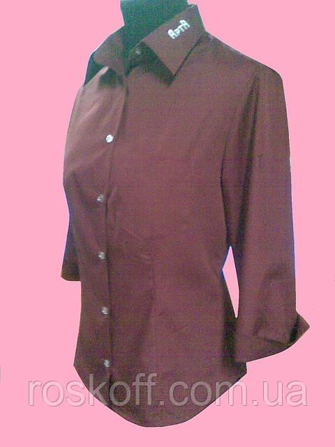 Женская блузка  рукав 3/4 бордового цвета