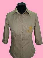 Женская блузка  рукав 3/4 бежевого цвета, фото 1