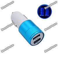 Автомобильная зарядка для телефона/планшета синего цвета