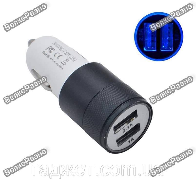 Автомобильная зарядка для телефона/планшета черного цвета