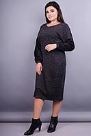 Этно. Женское нарядное платье большие размеры. Графит.