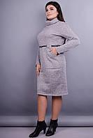 Анжела. Платье в деловом стиле больших размеров. Серый.