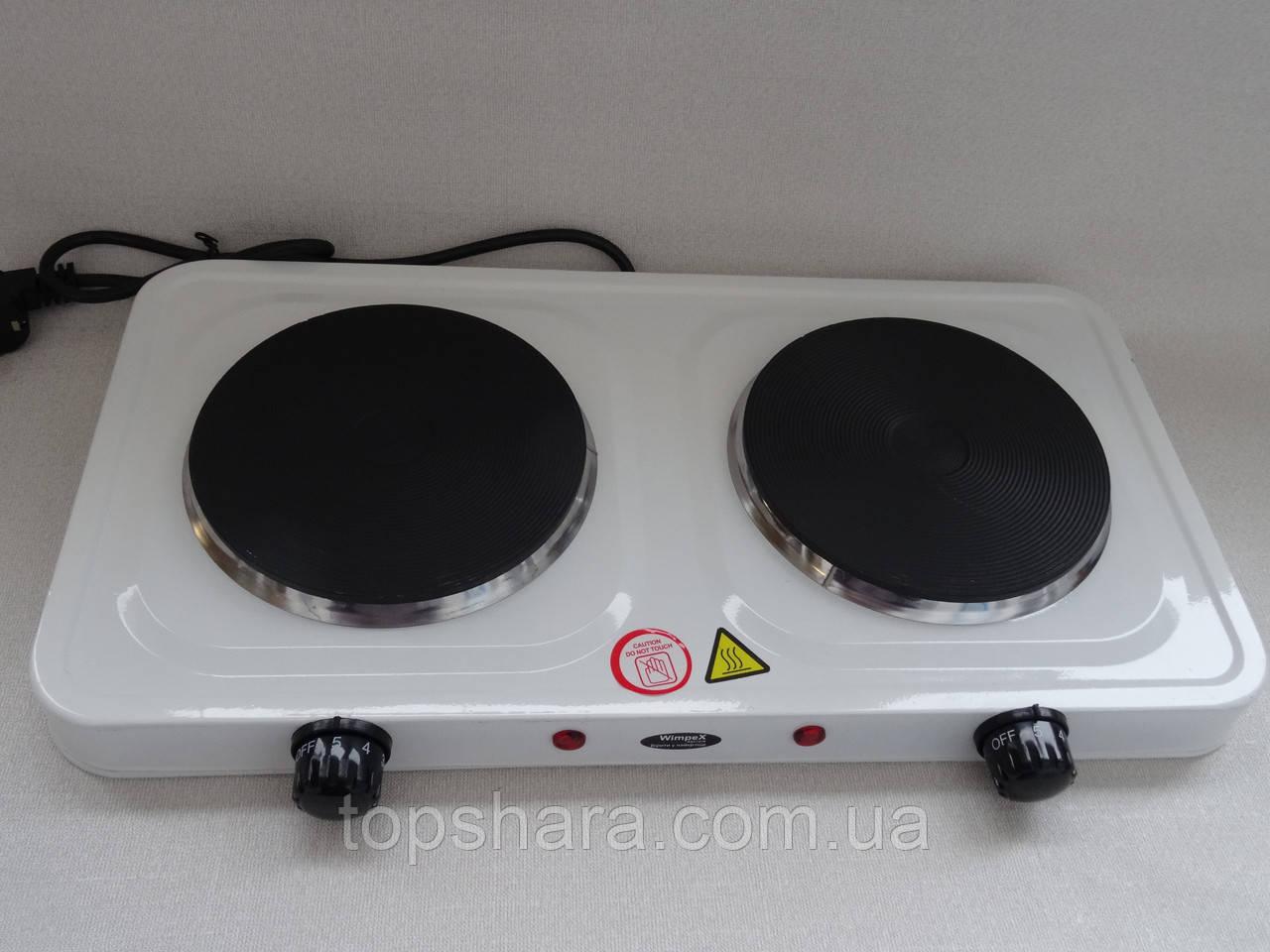 Электроплита кухонная Wimpex WX-200A-HP настольная двухкомфорочная 2000W