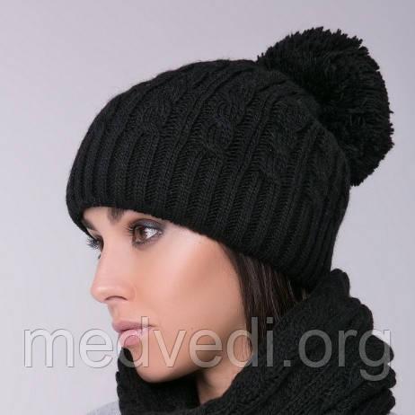 Черная женская шапка двойная косы с помпоном