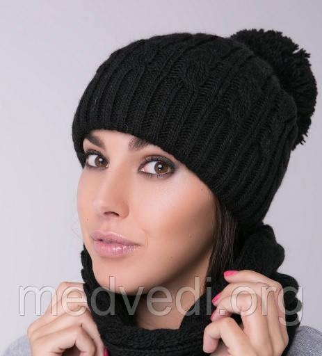 черная женская шапка двойная с косами