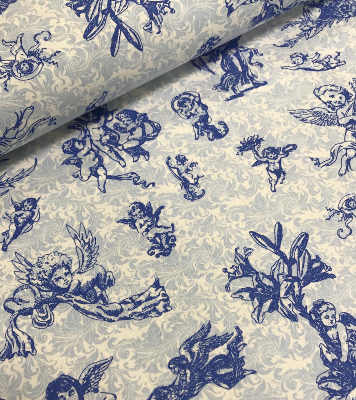 Хлопковая ткань Ангелы голубые на белом