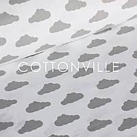 Польская бязь Облачка серые на белом, фото 1