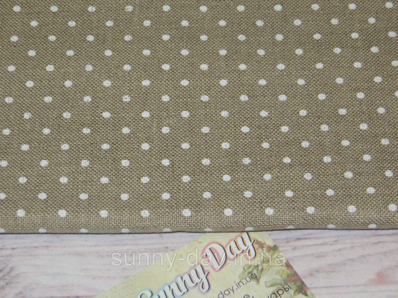 3609/5379 Belfast, цвет -  Raw linen/white dots (цвет сырого льна в белый горошек), 32 ct.