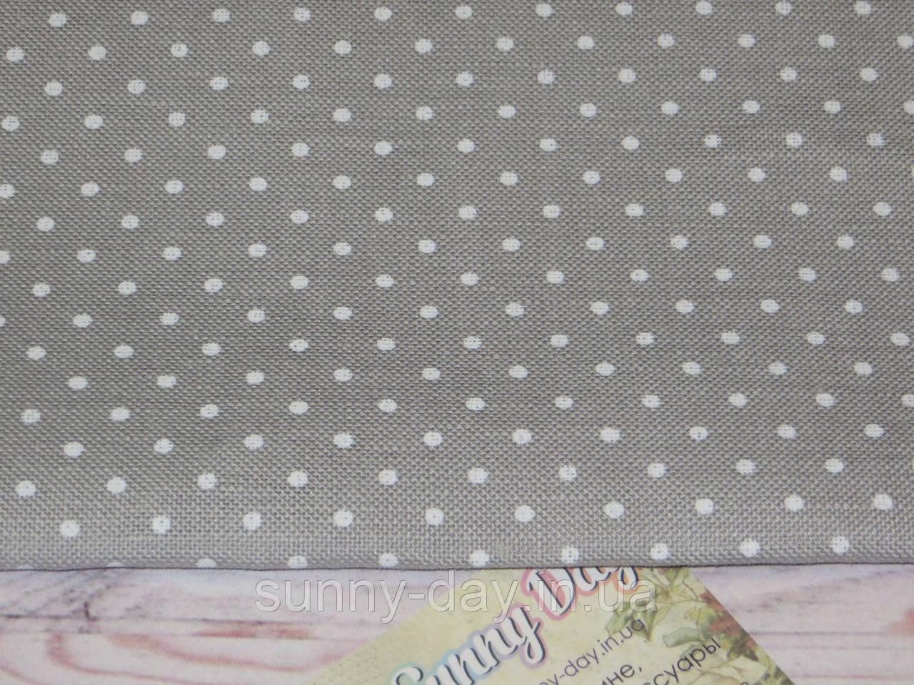 3609/7349 Belfast, цвет -  Gray linen/white dots (серый в белый горошек), 32 ct.