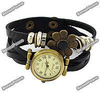 Оригинальные женские часы-браслет черного цвета с цветочком