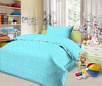 """Комплект постельного белья """"Звездопад лазурный"""" в кроватку"""