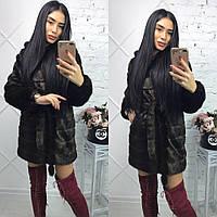 Женская шуба 90 см цвета махагон  до колен  с капюшоном из искусственного меха 13224SU
