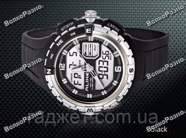 Спортивные водонепроницаемые мужские часы alike черного цвета