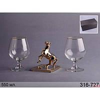"""Lefard набор бокалов для коньяка из 2 шт. 500 мл подарочный с фигуркой """"лошадь"""" 13 см 316-727"""