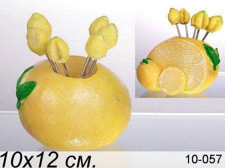 """Lefard набір вилочок """"лимон"""" з 6 шт. на підставці, 9х6.5х9 см, в ящ. 48 наб. 10-057"""