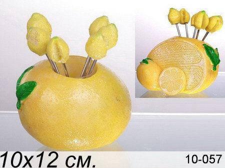 """Lefard набір вилочок """"лимон"""" з 6 шт. на підставці, 9х6.5х9 см, в ящ. 48 наб. 10-057, фото 2"""