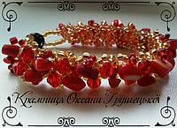 Браслет с натуральными камнями перламутр  (красный)