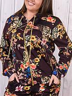 Спортивный костюм женский Турция с цветочным принтом на молнии  50 52 54 56 коричневый, фото 1