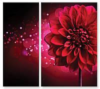 Модульная картина бордовый цветок 3Д