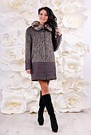 Пальто жіноче комбіноване утеплене, з 44-56, фото 1