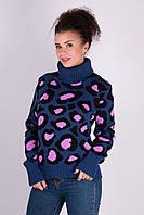Женский зимний свитер Лёвик джинс - сирень - черный