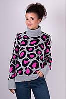 Женский зимний свитер Лёвик серый - малина - черный