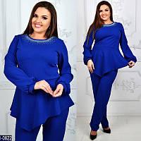 Модный костюм батал с косой баской цвет синий электрик. Арт-14173