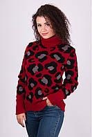 Женский зимний свитер Лёвик вишня - капучино - черный