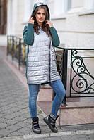 """Женская стильная куртка Плащевка  """" металлик """",    трехнитка Украшение  на  капюшоне"""