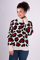 Женский зимний свитер Лёвик песочный - вишня - черный