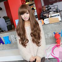 Женский парик из искусственных волос, длинные волнистые волосы, цвет - светло-коричневый