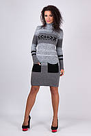 Вязаное зимнее стильное платье Мулине черные карманы