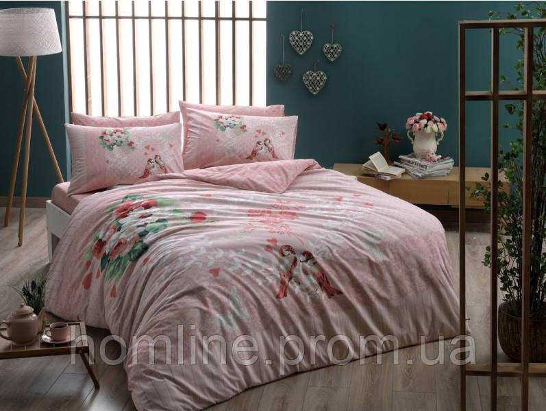 Постельное белье Tac ранфорс Tulin розовое полуторного размера