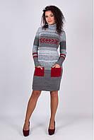 Вязаное зимнее стильное платье Мулине вишня