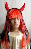 Парик Дьявола красно-черный с рогами