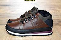 Мужские зимние ботинки+кроссовки кожаные New balance 754 на меху коричневые