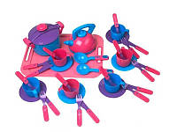 Набор игрушечной посуды с подносом Kinderway 04-424, 36 предметов
