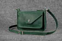 Кожаная женская сумка Уголок через плечо | Винтажный Изумруд, фото 1
