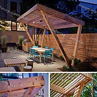 Консольный навес из дерева для дачи и загородного дома