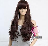 Женский парик из искусственных волос, длинные волнистые волосы, цвет - темно-коричневый