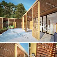 Деревянный навес пристройка к дому с солнечными экранами