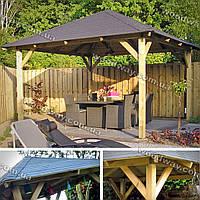 Деревянный навес для отдыха на даче