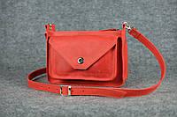 Кожаная женская сумка Уголок через плечо | Винтажный Коралл, фото 1